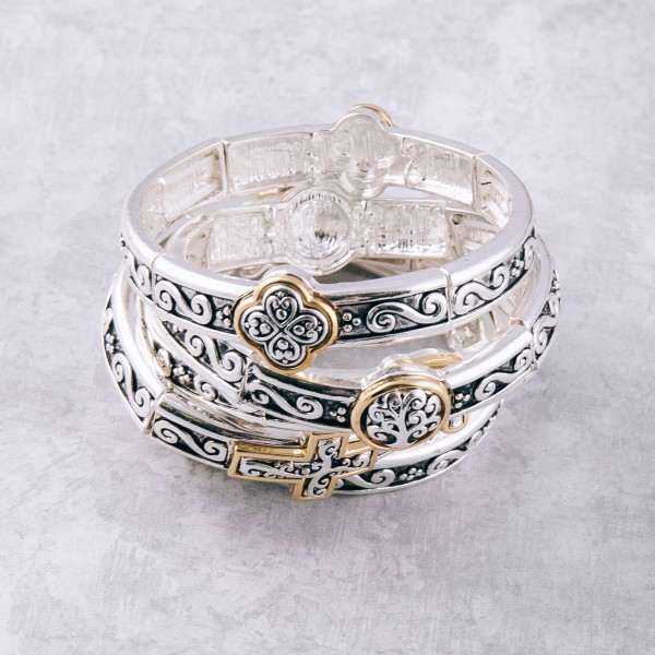 """Two tone antique silver metal elephant filigree stretch bracelet. Approximately 3"""" in diameter unstretched. Fits up to a 6"""" wrist."""