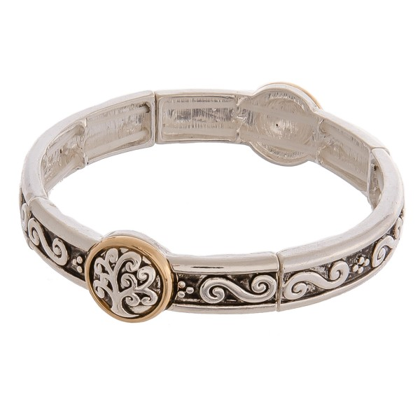 """Two tone antique silver metal Tree of Life filigree stretch bracelet. Approximately 3"""" in diameter unstretched. Fits up to a 6"""" wrist."""