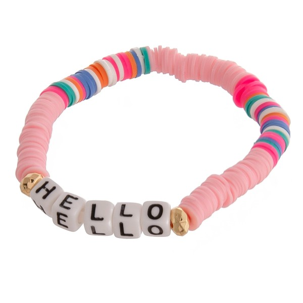"""Polymer Clay spacer disc beaded """"Hello"""" letter block stretch bracelet.  - Approximately 3"""" in diameter unstretched - Fits up to a 6"""" wrist"""