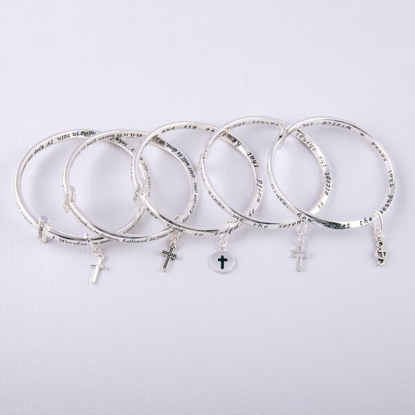 """Inspirational metal cross bangle bracelet with """"10 Commandments"""" engraved details.  """"I. Worship no gods but me.  II. Have no idols.  III. Don't take God's name in vain.  IV. Keep the Sabbath day holy.  V. Respect your father & mother.  VI. Do not kill.  VII. Do not commit adultery.  VIII. Do not steal.  IX. Do not lie.  X. Do not covet.""""  - Approximately 6"""" in diameter"""