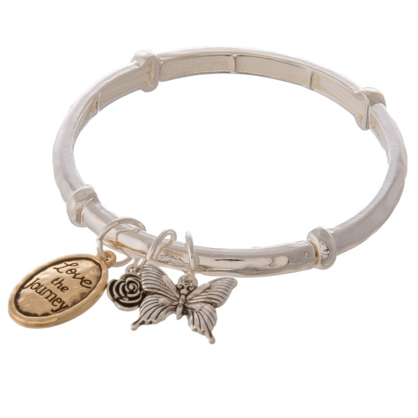 "Two tone inspirational butterfly charm stretch bracelet with engraved ""Say Yes to New Adventures"" message.  - Approximately 3"" in diameter unstretched - Fits up to a 7"" wrist - Charms approx. .5"" in size"