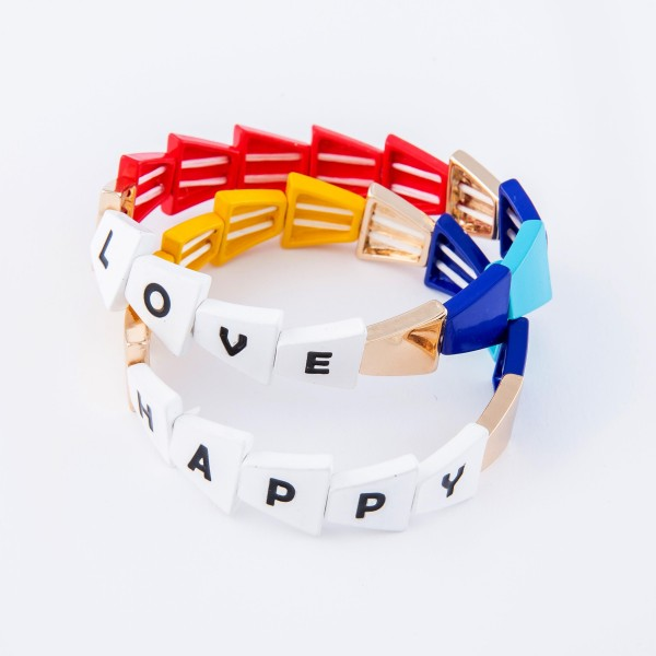 "Gold Tone Enamel Coated Triangle ""Happy"" Letter Color Block Stretch Bracelet.  - Approximately 3"" in diameter - Fits up to a 7"" wrist"