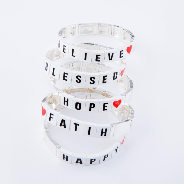 "Silver Tone Enamel Coated Tile ""Blessed"" Letter Block Stretch Bracelet with Heart Detail.  - Approximately 3"" in diameter - Fits up to a 7"" wrist"