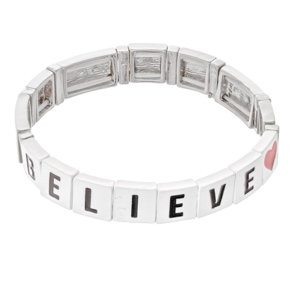 "Silver Tone Enamel Coated Tile ""Believe"" Letter Block Stretch Bracelet with Heart Detail.  - Approximately 3"" in diameter - Fits up to a 7"" wrist"
