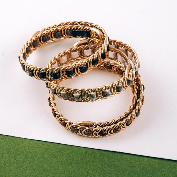 Faux leather snakeskin woven metal wrap bracelet.  - Open fit  - One size fits most - Approximately 1cm in width