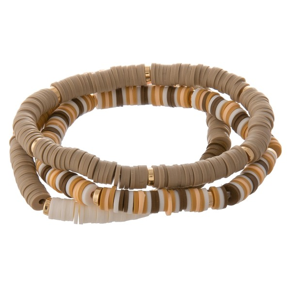 """Rubbery spacer beaded stretch bracelet set.  - 3 pcs/pack - Approximately 3"""" in diameter unstretched - Fits up to a 7"""" wrist"""