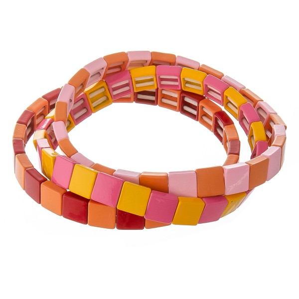 """Shiny enamel coated color block stretch bracelet set.  - 3pcs/pack - Approximately 3"""" in diameter unstretched - Fits up to a 7"""" wrist"""