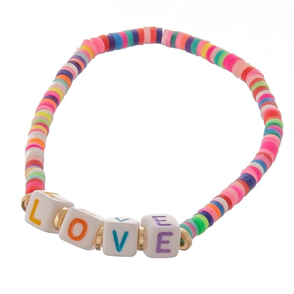 """Dainty Polymer Clay spacer disc beaded """"Love"""" letter block stretch bracelet.  - Approximately 3"""" in diameter unstretched - Fits up to a 7"""" wrist"""