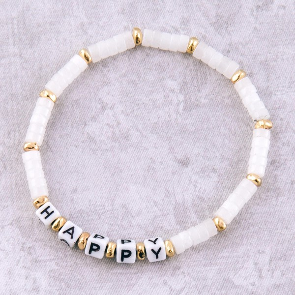 """Semi precious beaded """"Happy"""" letter stretch bracelet.  - Approximately 3"""" in diameter unstretched - Fits up to a 7"""" wrist"""