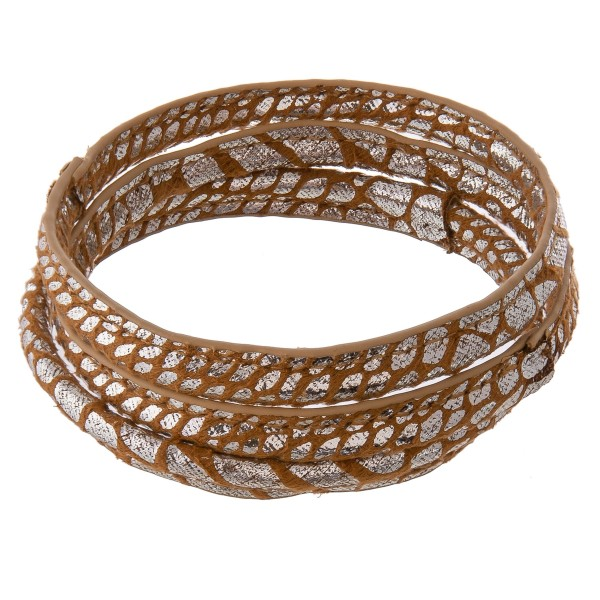 """Metallic faux leather wrapped animal print bangle bracelet set of three.  - Approximately 3"""" in diameter - Fits up to a 6"""" wrist"""