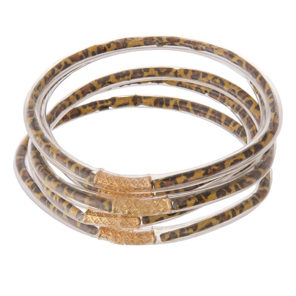 """Leopard print jelly bangle bracelet set of five.  - Approximately 3"""" in diameter - Fits up to a 6"""" wrist"""