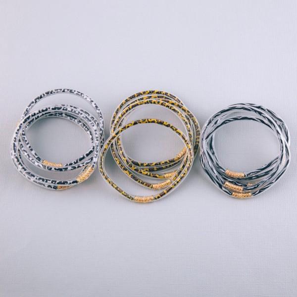 "Zebra print jelly bangle bracelet set of five.  - Approximately 3"" in diameter - Fits up to a 6"" wrist"