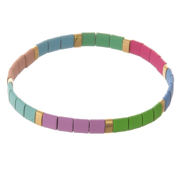 """Miyuki Tila coated color block stretch bracelet.  - Approximately 3"""" in diameter unstretched - Fits up to a 7"""" wrist"""