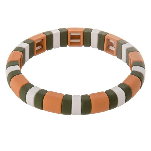 """Rubbery coated color block stretch bracelet.  - Approximately 3"""" in diameter unstretched - Fits up to a 7"""" wrist"""