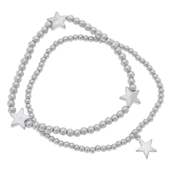 """Worn Silver Sphere Beaded Star Stretch Bracelet Set.  - 2pcs/set - Approximately 3"""" in diameter unstretched - Fits up to a 7"""" wrist"""