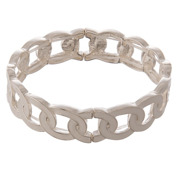 """Tailored enamel coated metal link stretch bracelet.  - Approximately 3"""" in diameter unstretched - Fits up to a 7"""" wrist"""
