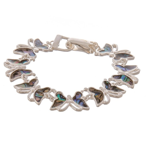 "Metal genuine abalone butterfly bracelet with magnetic closure.  - Approximately 3"" in diameter - Fits up to a 6"" wrist"