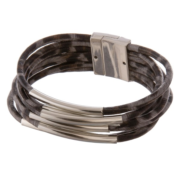 """Faux leather multi strand leopard print magnetic bracelet with silver accents.  - Magnetic closure - Approximately 3"""" in diameter - Fits up to a 6"""" wrist"""