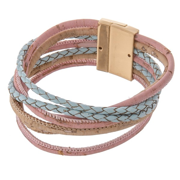 """Multi strand cork wrapped magnetic bracelet.  - Magnetic closure - Approximately 3"""" in diameter - Fits up to a 6"""" wrist"""