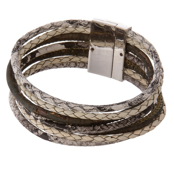 """Multi strand cork wrapped snakeskin magnetic bracelet.  - Magnetic closure - Approximately 3"""" in diameter - Fits up to a 6"""" wrist"""
