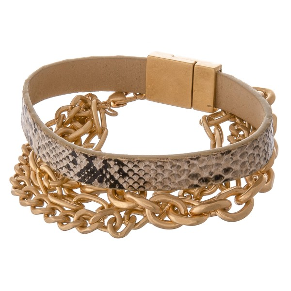 """Faux leather snakeskin magnetic chunky chain link bracelet set.  - 2pcs/pack - Stackable - Magnetic clasp - Lobster clasp - Adjustable 1"""" extender - Approximately 3"""" in diameter - Fits up to a 6"""" wrist"""