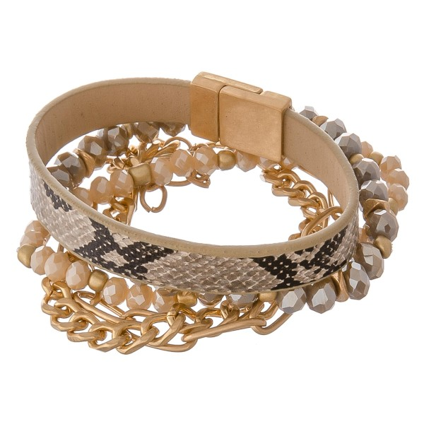 """Faux leather snakeskin magnetic curb chain link beaded stretch bracelet set.  - 4pcs/pack - Stackable  - Magnetic strand - Stretchy stand  - Lobster clasp - Approximately 3"""" in diameter - Fits up to a 6"""" wrist"""