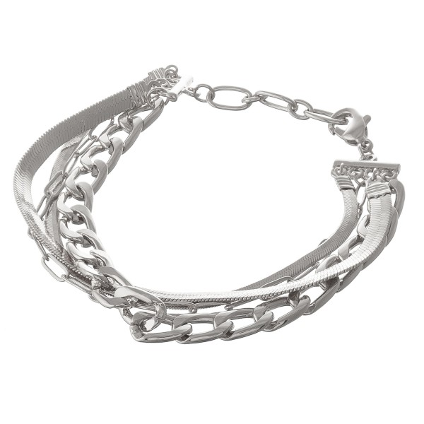 """Curb link herringbone chain link bracelet.  - Lobster clasp  - Adjustable 1"""" extender - Approximately 3"""" in diameter - Fits up to an 8"""" extender"""