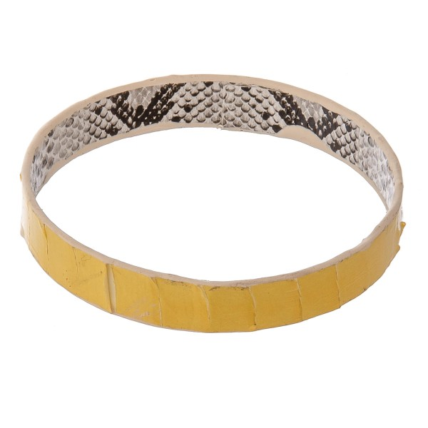 """Double sided Genuine Leather snakeskin bangle bracelet.  - Approximately 3"""" in diameter - Fits up to a 6"""" wrist"""