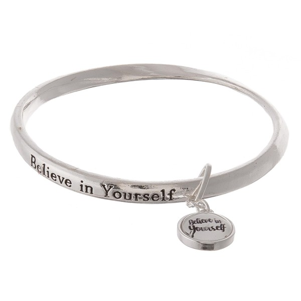 """Inspirational """"Believe in Yourself"""" dome charm bangle bracelet.  - Charm approximately .5"""" in diameter - Approximately 3"""" in diameter - Fits up to a 6"""" wrist"""