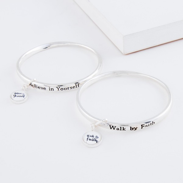"""Inspirational """"Walk by Faith"""" dome charm bangle bracelet.  - Charm approximately .5"""" in diameter - Approximately 3"""" in diameter - Fits up to a 6"""" wrist"""
