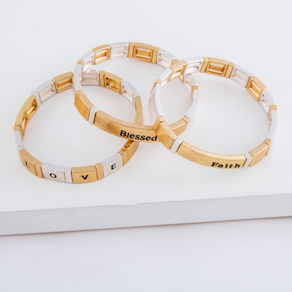 """Worn two tone """"Blessed"""" stamped block stretch bracelet.  - Approximately 3"""" in diameter unstretched - Fits up to a 7"""" wrist"""
