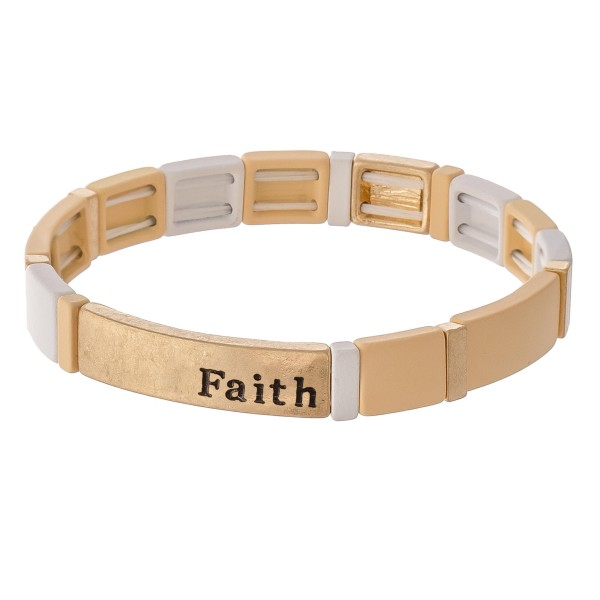 """Worn enamel coated """"Faith"""" stamped color block stretch bracelet.  - Approximately 3"""" in diameter unstretched - Fits up to a 7"""" wrist"""