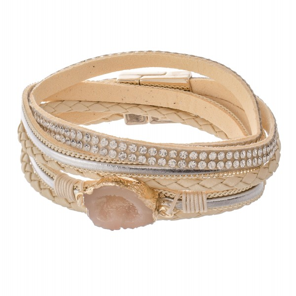"""Beige faux leather rhinestone druzy wrap magnetic bracelet.  - Magnetic closure - Approximately 3"""" in diameter - Fits up to a 6"""" wrist"""