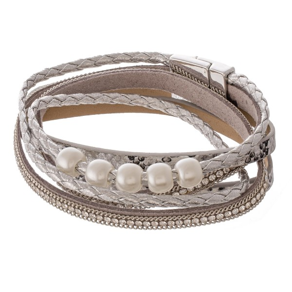 "Faux leather pearl beaded rhinestone snakeskin magnetic wrap bracelet.  - Magnetic closure - Approximately 3"" in diameter - Fits up to a 6"" wrist  -"