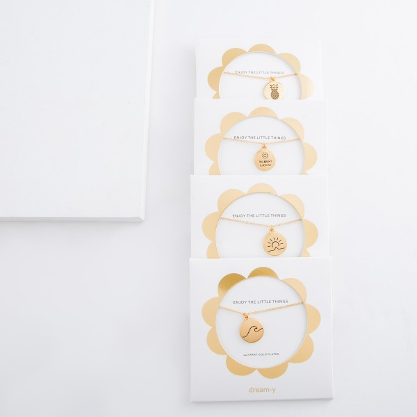 """24 Karat Gold Plated """"You Are My Sunshine"""" engraved charm necklace.  - Pendant approximately .5"""" in diameter - Approximately 18"""" L - 2.5"""" extender"""