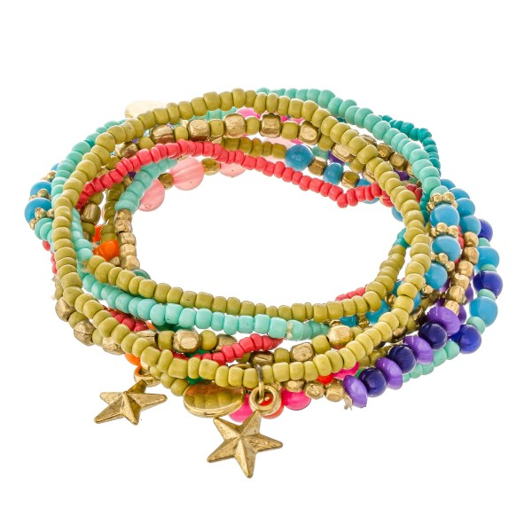 """Multicolor Seed Beaded Boho Star Charm Stacking Stretch Bracelet Set.  - 8pcs/set - Approximately 3"""" in diameter unstretched - Fits up to a 7"""" wrist"""
