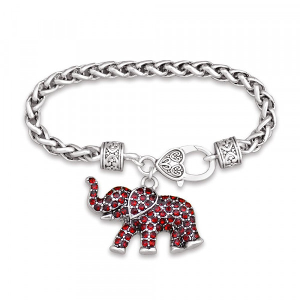 7.5 inch Silver toned designer inspired lobster clasp bracelet with .5 x 1 inch elephant charm encrusted with red rhinestones