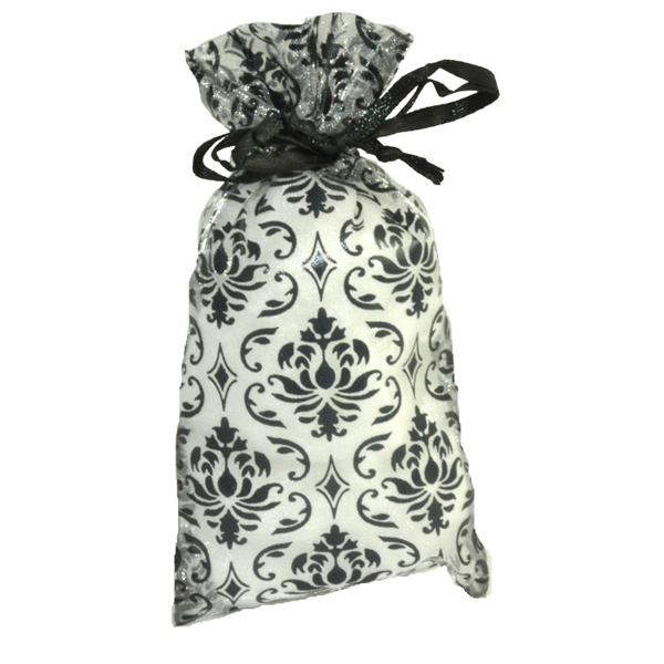 """6.5"""" x 4"""" Damask Organza Gift Bags - 12 count, drawstring closure"""