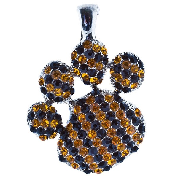 """2 1/2"""" Silver tone paw pendant encrusted with yellow and black rhinestones."""