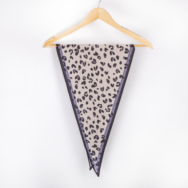 "Leopard with grey border neckerchief. 100% polyester. Approximate 28x28"" in length."