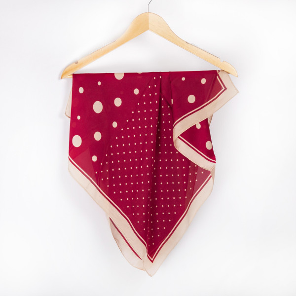 "Polkadot neckerchief. 100% polyester. Approximate 28x28"" in length."
