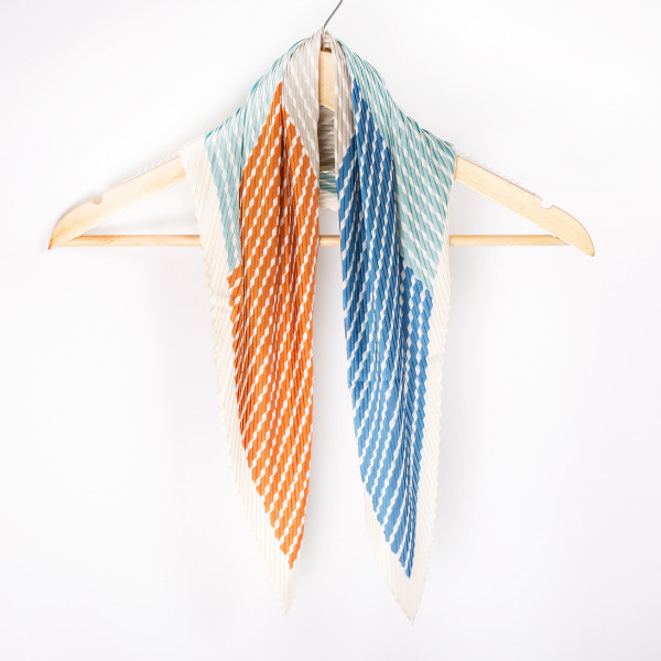 "Multi color pleated dia scarf. 100% polyester. Approximate 28x28"" in length."