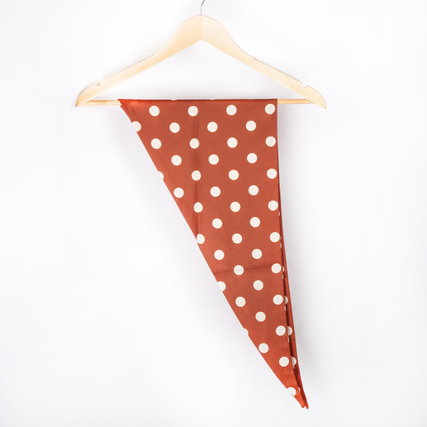 "Polkadot triangle scarf. 100% polyester. Approximate 46"" in length."