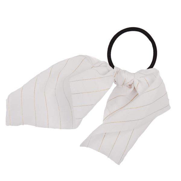 Ivory gold stripe scrunchie.