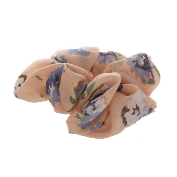 Blush floral scrunchie.