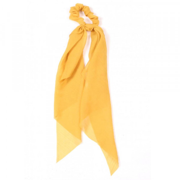Solid colored hair scrunchie scarf. 100% polyester.