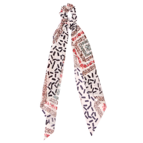 Mixed pattern hair scrunchie scarf. 100% polyester.