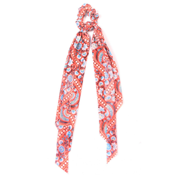Floral and feather hair scrunchie pony tail scarf. 100% polyester.