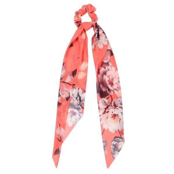 Flower printed hair scrunchie scarf. 100% polyester.