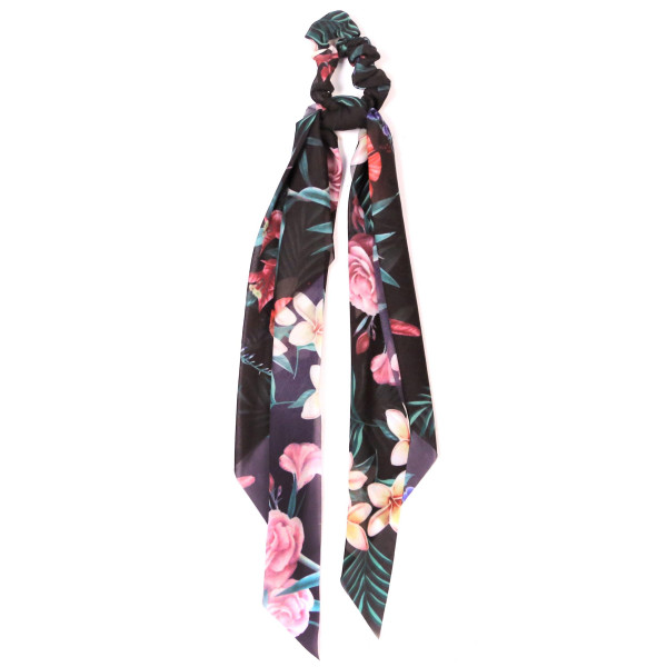 Tropical printed scrunchie pony tail holder. 100% polyester.